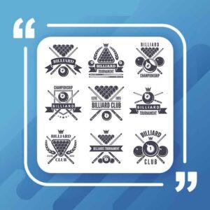برچسب یا لوگوهای تک رنگ برای باشگاه بیلیارد