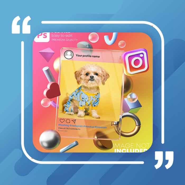 دانلود فایل لایه باز موکاپ شیشه ای با فریم سه بعدی مدرن صفحه پست در اینستاگرام با پس زمینه رنگارنگ